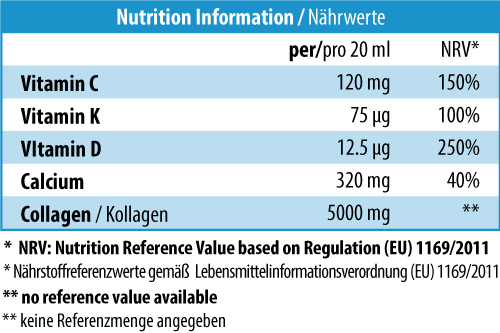 Marinox®-Collagen-Osteo-Plus-Drink Nutrition Information